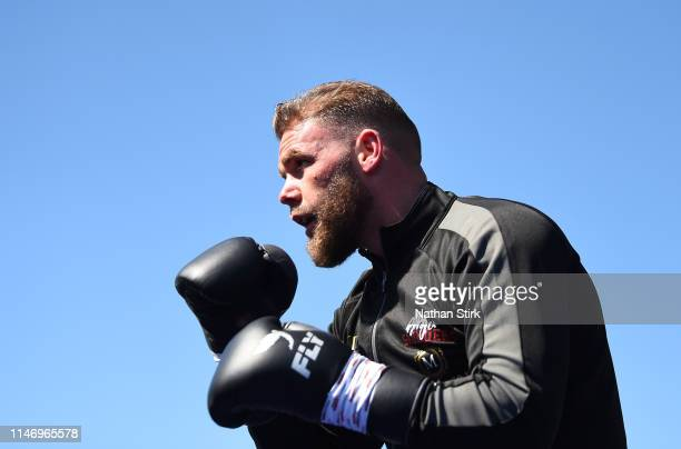 Billy Joe Saunders takes part in a workout session at The Lamex Stadium on May 04 2019 in Stevenage England