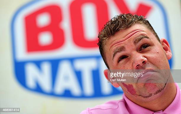 Billy Joe Saunders talks to the media during a press conference at Fredericks Restaurant on April 2 2015 in London England