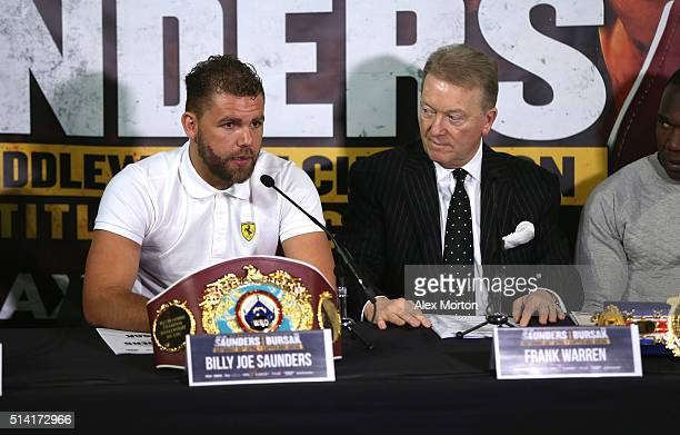 Billy Joe Saunders talks to the press as promoter Frank Warren looks on during the press conference at The O2 Arena on March 7 2016 in London England