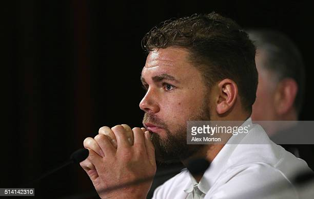 Billy Joe Saunders talks to the press during the press conference at The O2 Arena on March 7 2016 in London England