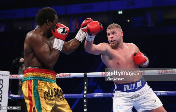 Billy Joe Saunders throws a right shot at Charles Adamu during the International SuperMiddleweight Contest at Manchester Arena on November 22 2018 in...