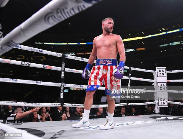 Billy Joe Saunders waits in a neutral corner after he knocked down Marceleo Coceres during their WBO World SuperMiddleweight Championship fight at...