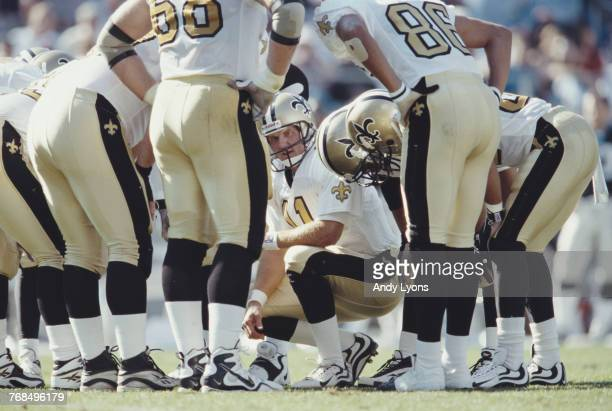 Billy Joe Tolliver Quarterback for the New Orleans Saints in the huddle calling the play during the game against the Carolina Panthers on 1 November...