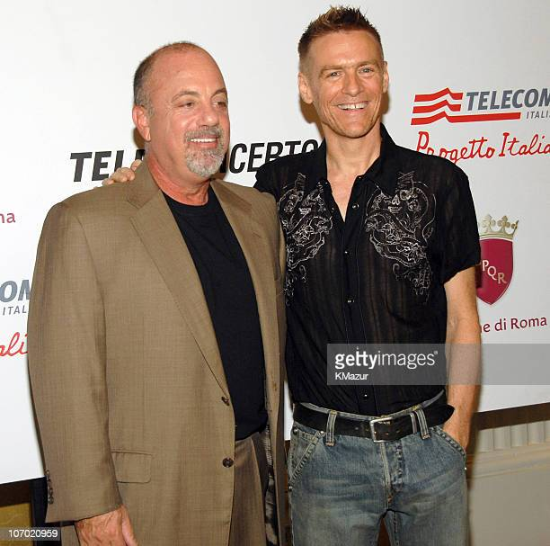 Billy Joel and Bryan Adams during Billy Joel and Bryan Adams Press Conference for their Performance in Rome at the Colosseum July 29 2006 in Rome...