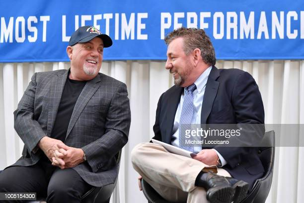Billy Joel and MSG CEO and chairman James Dolan take part in a press conference honoring Joel's 100th Lifetime Performance at Madison Square Garden...