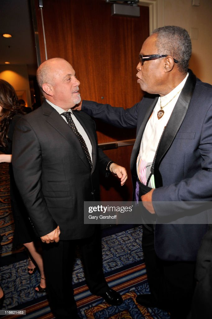 Billy Joel and Sam Moore attend the Songwriters Hall of Fame 42nd Annual Induction and Awards at The New York Marriott Marquis Hotel - Shubert Alley on June 16, 2011 in New York City.