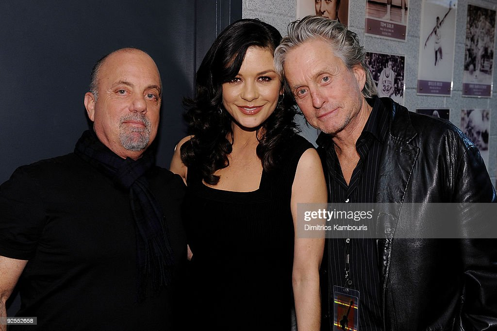 *EXCLUSIVE* Billy Joel, Catherine Zeta-Jones and Michael Douglas attend the 25th Anniversary Rock & Roll Hall of Fame Concert at Madison Square Garden on October 29, 2009 in New York City.