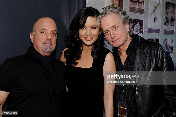 NEW YORK OCTOBER 29 *EXCLUSIVE* Billy Joel Catherine ZetaJones and Michael Douglas attend the 25th Anniversary Rock Roll Hall of Fame Concert at...
