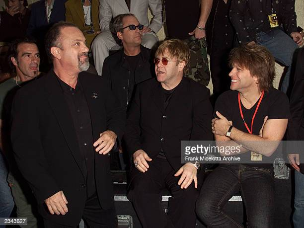 Billy Joel Elton John and Jon Bon Jovi backstage at The Concert for New York City at Madison Square Garden in New York City 10/20/01 The show will...