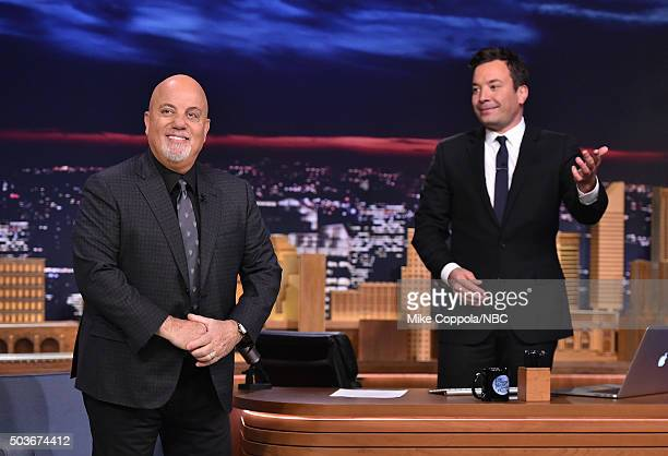 Billy Joel is introduced by Jimmy Fallon as he visits 'The Tonight Show Starring Jimmy Fallon' at Rockefeller Center on January 6 2016 in New York...