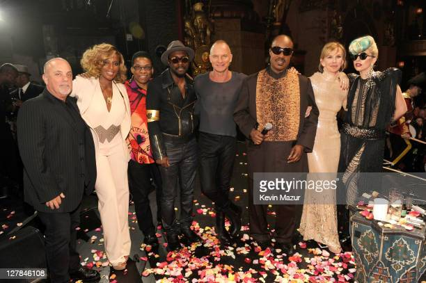 Billy Joel, Mary J Blige, Herbie Hancock, will.i.am, Sting, Stevie Wonder, Trudie Styler and Lady Gaga backstage after STING: 25th Anniversary/60th...