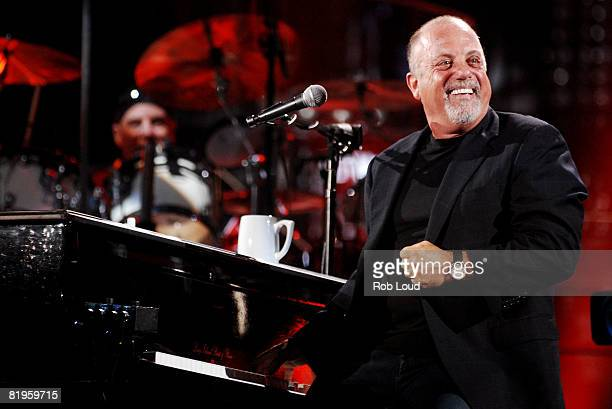 Billy Joel performs at Shea Stadium on July 16, 2008 in New York City.