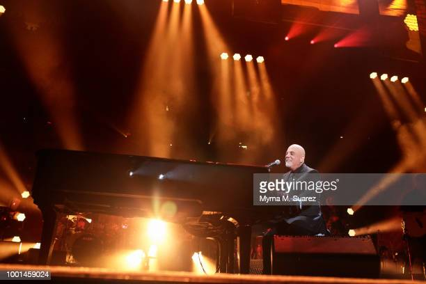 Billy Joel and Bruce Springsteen perform 10th Avenue Freeze Out and Born to Run on stage at the 100th Lifetime Performance at Madison Square Garden...