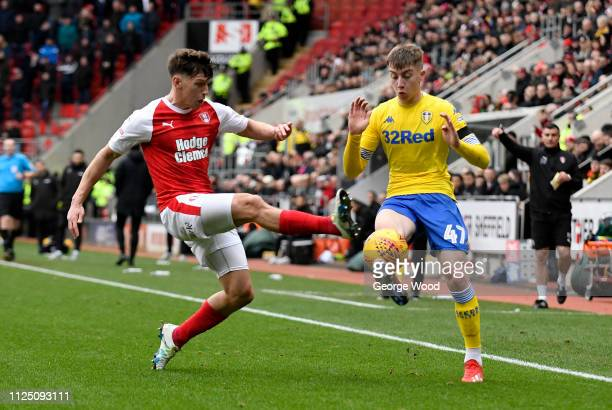 Billy Jones of Rotherham United and Jack Clarke of Leeds United compete for the ball during the Sky Bet Championship match between Rotherham United...