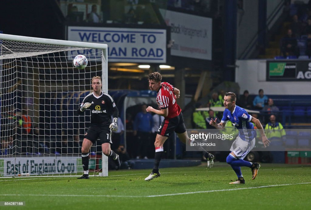 Billy Jones of Sunderland (C) clears the ball during the Sky Bet Championship match between Ipswich Town and Sunderland at Portman Road on September 26, 2017 in Ipswich, England.