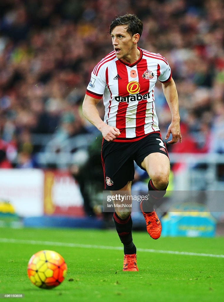 Billy Jones of Sunderland controls the ball during the Barclays Premier League match between Sunderland and Southampton at The Stadium of Light on November 7, 2015 in Sunderland, England.