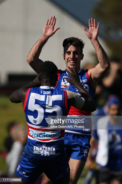 Billy Kanakis of Footscray celebrates after kicking a goal during the VFL Qualifying Final match between Footscray and Williamstown at Whitten Oval...