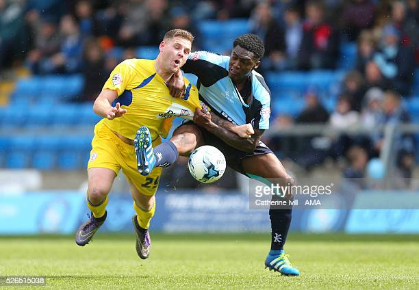 Billy Kee of Accrington Stanley and Anthony Stewart of Wycombe Wanderers during the Sky Bet League Two match between Wycombe Wanderers and Accrington...