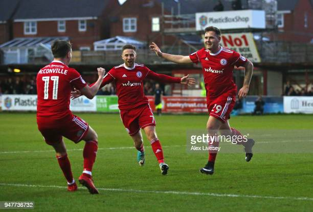 Billy Kee of Accrington Stanley celebrates after scoring his first goal during the Sky Bet League Two match between Accrington Stanley and Yeovil...