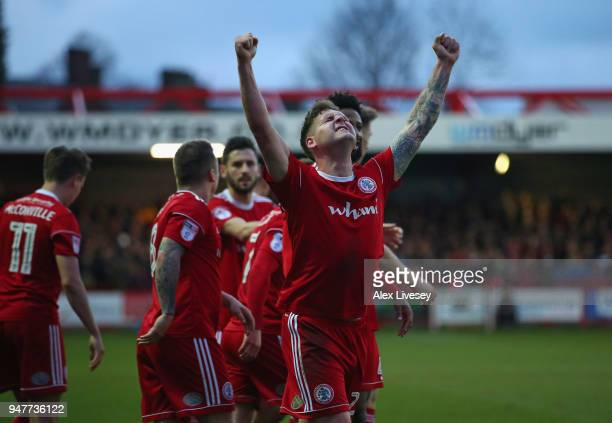 Billy Kee of Accrington Stanley celebrates after scoring his second goal during the Sky Bet League Two match between Accrington Stanley and Yeovil...