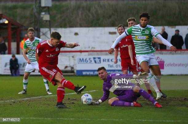 Billy Kee of Accrington Stanley scores his second goal during the Sky Bet League Two match between Accrington Stanley and Yeovil Town at The Crown...