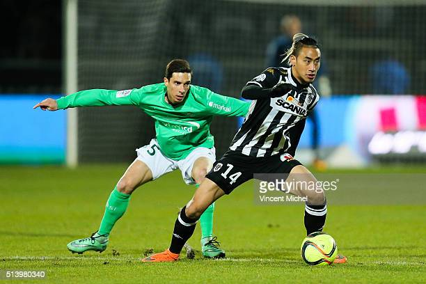 Billy Ketkeophomphone of Angers and Vincent Pajot of SaintEtienne during the French Ligue 1 match between Angers SCO v AS SaintEtienne at Stade...