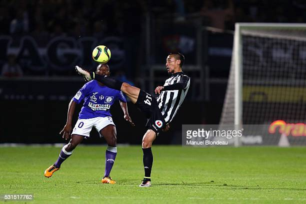 Billy Ketkeophomphone of Angers during the football french Ligue 1 match between Angers SCO and Toulouse FC on May 14 2016 in Angers France