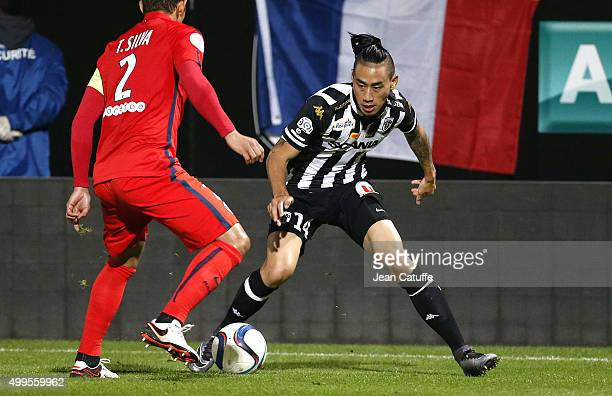 Billy Ketkeophomphone of SCO Angers in action during the French Ligue 1 match between Angers SCO and Paris SaintGermain at Stade Jean Bouin on...