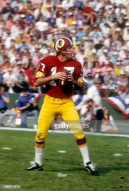 Billy Kilmer of the Washington Redskins drops back to pass against the Miami Dolphins during Super Bowl VII at the Memorial Coliseum January 14 1973...