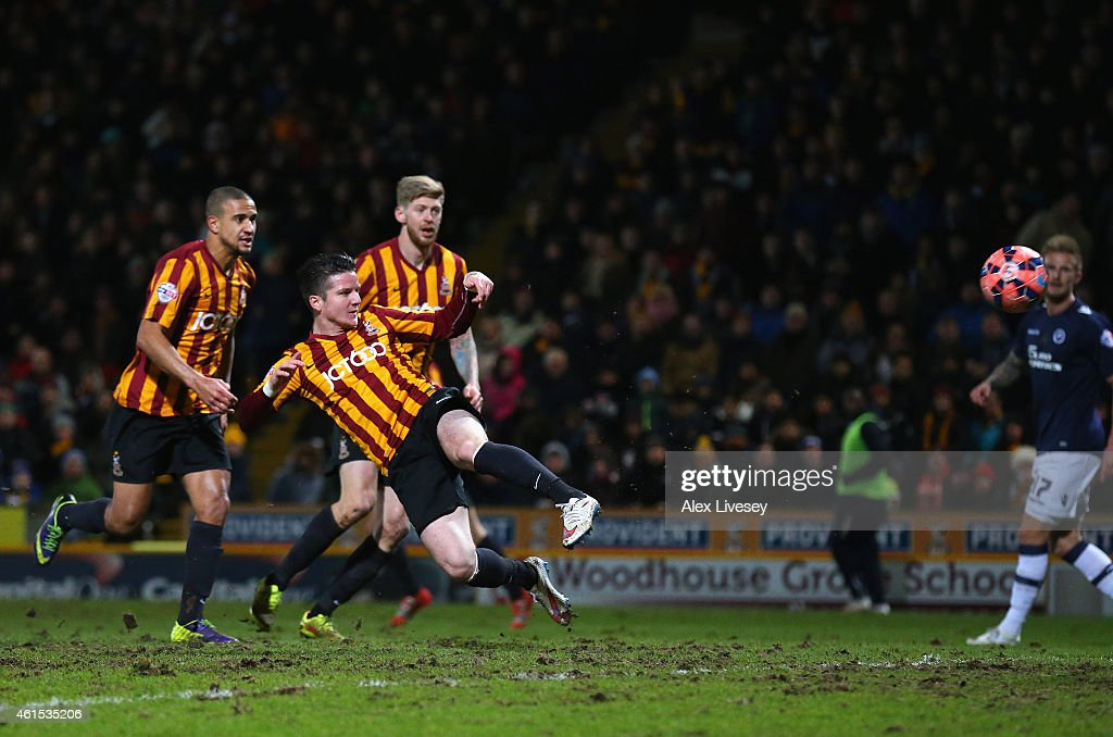Billy Knott of Bradford City scores the fourth goal during the FA Cup Third Round Replay match between Bradford City and Millwall at Coral Windows Stadium, Valley Parade on January 14, 2015 in Bradford, England.