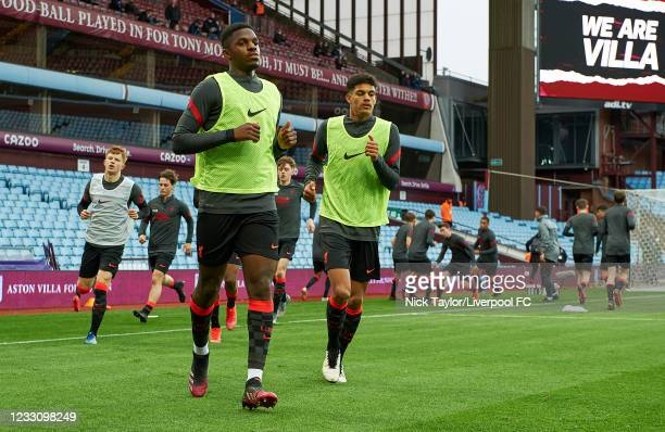Billy Koumetio and Jarell Quansah of Liverpool during the warm-up before the FA Youth Cup Final at Villa Park on May 24, 2021 in Birmingham, England.