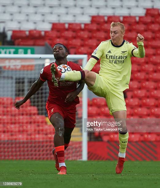 Billy Koumetio of Liverpool and Mika Biereth of Arsenal in action during the PL2 game at Anfield on October 16, 2021 in Liverpool, England.