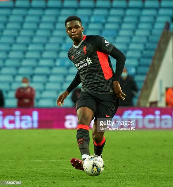 Billy Koumetio of Liverpool in action during the FA Youth Cup Final between Aston Villa U18 and Liverpool U18, at Villa Park on May 24, 2021 in...