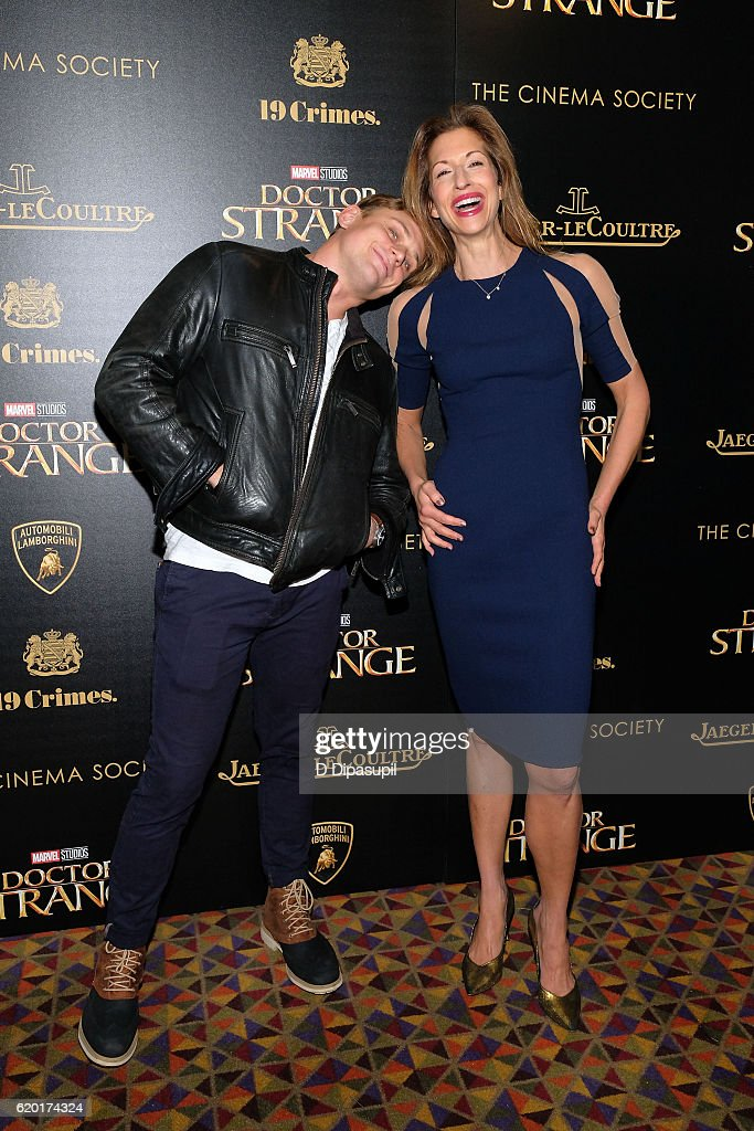 Billy Magnussen (L) and Alysia Reiner attend a screening of Marvel Studios' 'Doctor Strange', hosted by Lamborghini with The Cinema Society, Jaeger-LeCoultre, and 19 Crimes Wines, at AMC Empire on November 1, 2016 in New York City.