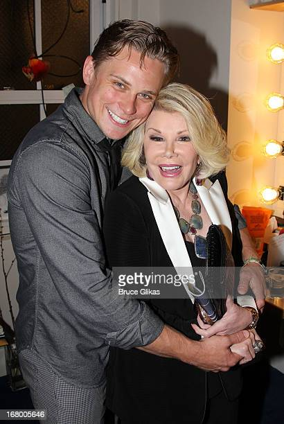 Billy Magnussen and Joan Rivers pose backstage at the Tony Nominated hit play Vanya Sonia Masha and Spike on Broadway at The Golden Theater on May 3...