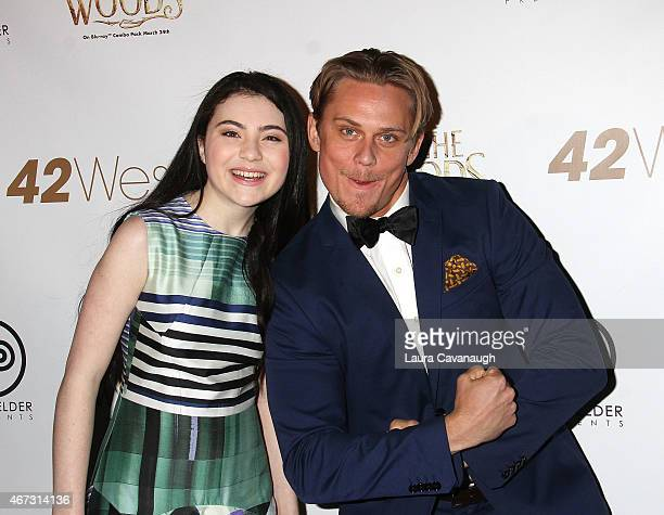 Billy Magnussen and Lilla Crawford attend Into The Woods InHome Release Musical Tribute to Stephen Sondheim at 42West on March 22 2015 in New York...