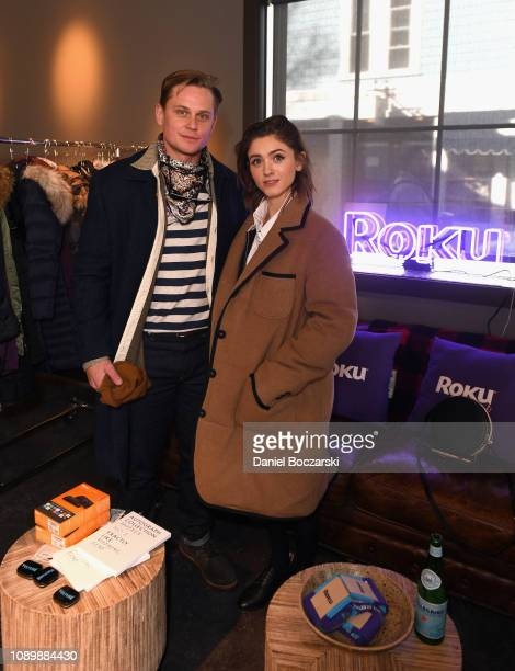 Billy Magnussen and Natalia Dyer attend the Vulture Spot during Sundance Film Festival on January 26 2019 in Park City Utah