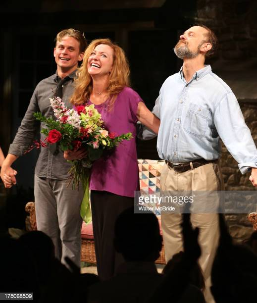 Billy Magnussen Julie White and David Hyde Pierce during the curtain call for Julie White's debut performance in Vanya And Sonia And Masha And Spike...