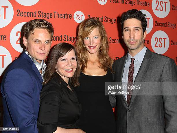 Billy Magnussen playwright Laura Eason Anna Gunn and director David Schwimmer attend the OffBroadway Opening Night After Party for 'Sex with...
