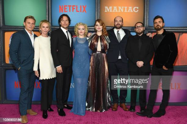 Billy Magnussen Trudie Styler Cary Fukunaga Julia Garner Emma Stone Patrick Sommerville Jonah Hill and Justin Theroux attend the Netflix Original...