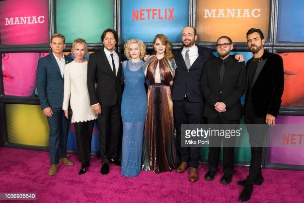 Billy Magnussen Trudie Styler Cary Fukunaga Julia Garner Emma Stone Patrick Sommerville Jonah Hill and Justin Theroux attend the 'Maniac' season 1...