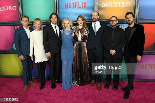 Billy Magnussen, Trudie Styler, Cary Fukunaga, Julia Garner, Emma Stone, Patrick Somerville, Jonah Hill, and Justin Theroux attend the Season One...