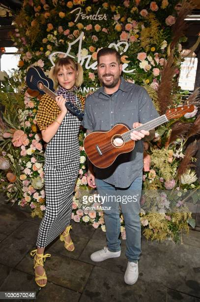Billy Martinez Fender VP Category Manager Acoustic and Squier Divisions and singersongwriter Grace VanderWaal unveil her Fender Artist Signature...