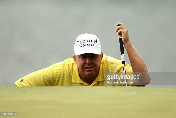 Billy Mayfair lines up a putt on the 14th green during the third round of the Quail Hollow Championship at Quail Hollow Country Club on May 1 2010 in...