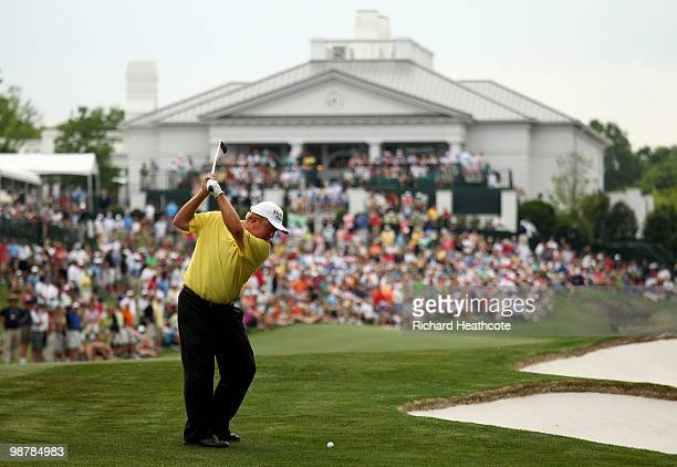 Billy Mayfair plays into the 18th green during the third round of the Quail Hollow Championship at Quail Hollow Country Club on May 1 2010 in...