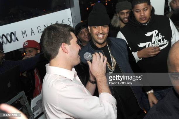 Billy McFarland and French Montana attend The MAGNISES Launch Party at 107 Rivington St on March 1 2014 in New York City