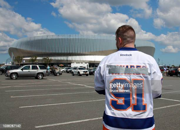 Billy McGregor of Farmingville wears a modified John Tavares jersey prior to the preseason game between the New York Islanders and the Philadelphia...