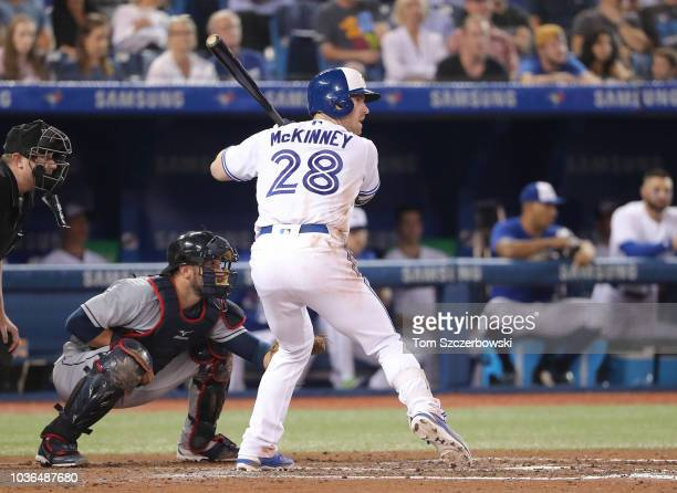 Billy McKinney of the Toronto Blue Jays bats in the fourth inning during MLB game action against the Cleveland Indians at Rogers Centre on September...