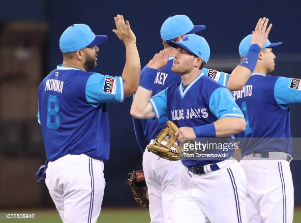 Billy McKinney of the Toronto Blue Jays celebrates their victory with Kendrys Morales during MLB game action against the Philadelphia Phillies at...