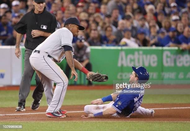 Billy McKinney of the Toronto Blue Jays is tagged out by Jose Ramirez of the Cleveland Indians as he tries to advance to third base on a fielder's...